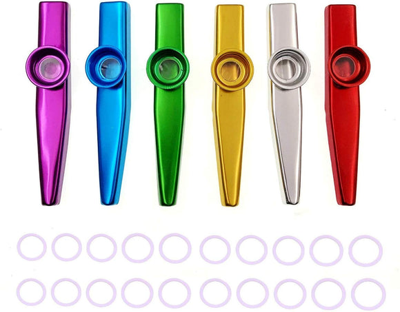 JZK Set of 6 colors metal kazoo musical instrument with 20 replacement membranes, good companion for guitar ukulele violin