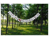 Just married bunting banner flags with ribbon, decoration wedding feast or photo booth photography