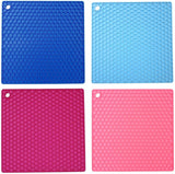 JZK 4 x Square Heat Resistant Silicone Trivet mat for hot Pans hot Dishes, Small Non-Slip Table mats Set, Kitchen worktop hot Pot Holder