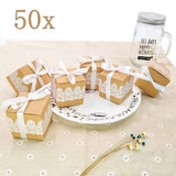 50 x Lace Kraft Paper Boxes for Wedding Birthday Baby Shower