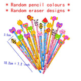 24 Wood graphite pencil + cartoon rubber eraser for kids children party bag birthday Christmas gift