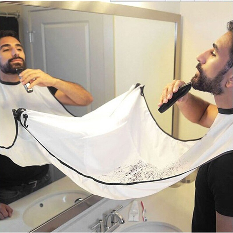 Pongee Men's Beard Care Shave Apron Bib Shaving Cloth Trimmer Facial Hair Cut Cape Sink Waterproof Floral Cloth