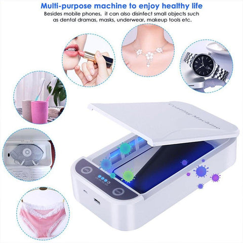 Portable UV Phone Sterilizer Box Sterilizer Cellphone Toothbrush Sanitizer Disinfection Box with USB Cable Dual UV Lights