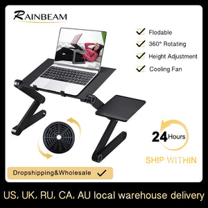 Adjustable ergonomic portable aluminum laptop desk