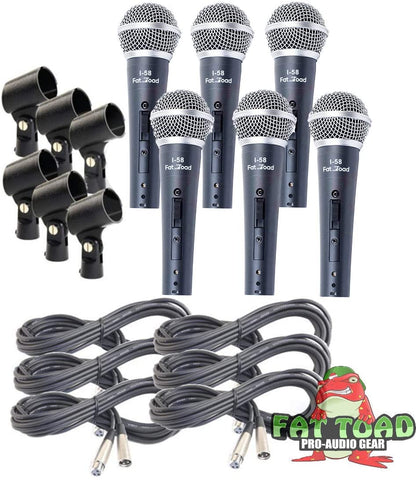 6 Packs Cardioid Vocal Microphones with XLR Cable by Fat Toad