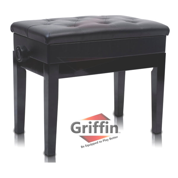 Pleasant Premium Adjustable Antique Piano Bench By Griffin Black Solid Wood Frame Luxurious Comfortable Leather Padded Seat Ergonomic Keyboard Stool With Gmtry Best Dining Table And Chair Ideas Images Gmtryco