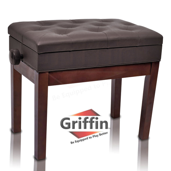 Miraculous Adjustable Piano Brown Leather Bench By Griffin Vintage Stylish Design Heavy Duty Ergonomic Keyboard Stool Comfortable Seat Convenient Hidden Beatyapartments Chair Design Images Beatyapartmentscom