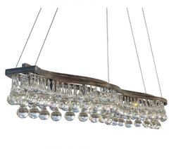 48 Inch Linear Double Curve Glass Drop Chandelier, Antique Silver