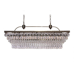 The Weston 40 Inch Rectangular Glass Drop Chandelier, Antique Brass