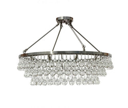 Celeste Flush Mount Glass Drop Crystal Chandelier, Chrome