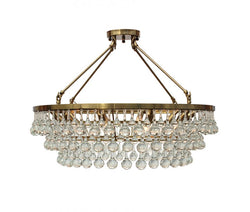 Celeste Flush Mount Glass Drop Crystal Chandelier, Brass
