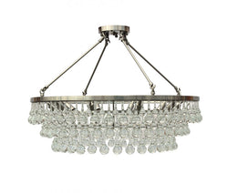 Celeste Flush Mount Glass Drop Crystal Chandelier, Brushed Nickel