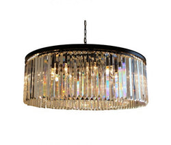 D'Angelo 12 Light Round Clear Glass Crystal Prism Chandelier, Black