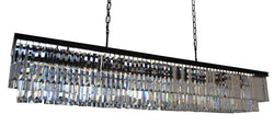 D'Angelo 60 Inch Clear Glass Crystal Prism Chandelier, Black