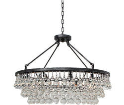 Celeste Glass Drop Crystal Chandelier, Antique Silver