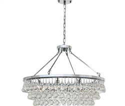 Celeste Glass Drop Crystal Chandelier, Chrome