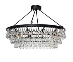 Celeste Flush Mount Glass Drop Crystal Chandelier, Black