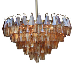 Ciara Round Faceted Amber Glass Chandelier, Champagne Gold