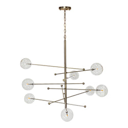Miranda 8-Light Glass Globe Mobile Satellite Chandelier, Antique Brass 47""