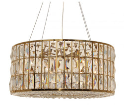 The Monroe Round Clear Crystal Chandelier, Brass