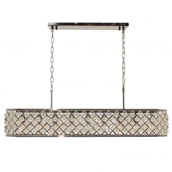 Cassiel 40 Inch Rectangular Crystal Chandelier, Chrome