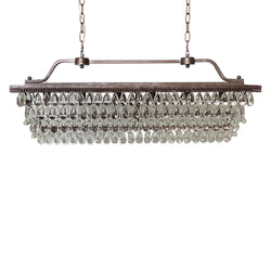 Weston Rectangular Glass Drop Chandelier, Antique Copper, Small