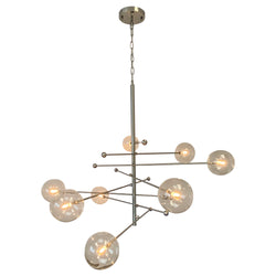 Miranda 8-Light Glass Globe Mobile Satellite Chandelier, Brushed Nickel 47""