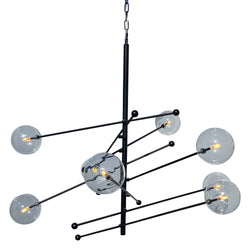 Miranda 8-Light Glass Globe Mobile Satellite Chandelier, Black 47""