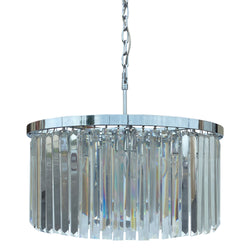 DAngelo 8 Light Round Clear Glass Chandelier, Chrome, Small
