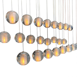 Orion 24 Light Rectangular Floating Glass Globe LED Chandelier, Chrome
