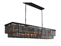 D'Angelo 60 Inch Smoked Glass Crystal Prism Chandelier, Black