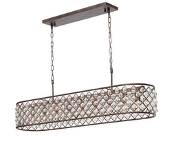 Cassiel Rectangular Crystal Chandelier, Oil Rubbed Bronze