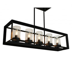 Rustic Kitchen Island Rectangular Pendant Chandelier, Black Finish