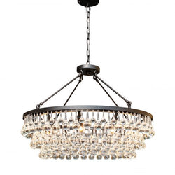 Celeste Glass Drop Crystal Chandelier, Black, Hanging or Flush Mount