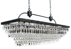 The Weston 40 Inch Rectangular Glass Drop Chandelier, Antique Silver