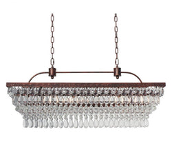 The Weston 40 Inch Rectangular Glass Drop Chandelier, Oil Rubbed Bronze