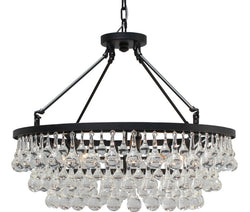 Celeste Glass Drop Crystal Chandelier, Black, Small, Hanging or Flush Mount