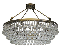 Celeste Flush Mount Glass Drop Crystal Chandelier, Antique Brass