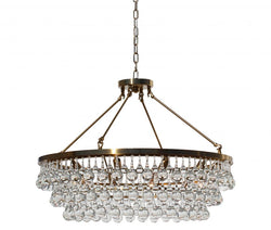 Celeste Glass Drop Crystal Chandelier, Brass