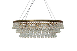 Celeste 10 Light Chandelier, Brass Finish,  with Wires