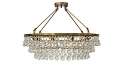 Celeste Glass Drop Crystal Chandelier, Brass, Hanging or Flush Mount
