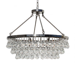 Celeste Glass Drop Crystal Chandelier, Brushed Nickel, Small