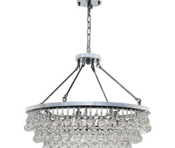 Celeste Glass Drop Crystal Chandelier, Chrome, Small