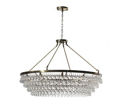Celeste Extra Large Glass Drop Crystal Chandelier, Antique Brass