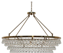 Celeste Extra Large Glass Drop Crystal Chandelier, Brass