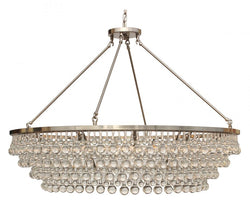 Celeste Extra Large Glass Drop Crystal Chandelier, Brushed Nickel