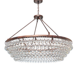 Celeste Extra Large Glass Drop Crystal Chandelier, Oil Rubbed Bronze