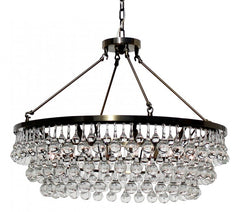 Celeste Glass Drop Crystal Chandelier, Antique Brass, Hanging or Flush Mount