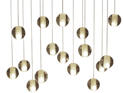 Orion 16 Light Rectangular Floating Glass Globe LED Chandelier, Brass