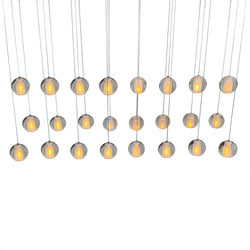 Orion 24 Light Rectangular Floating Glass Globe LED Chandelier, Brushed Nickel